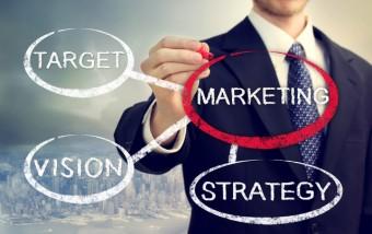 Businessman circling a marketing bubble